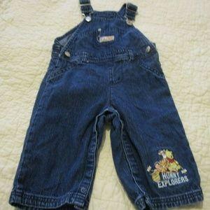 Disney Baby Pooh blue overalls hunny explorer 3-6M